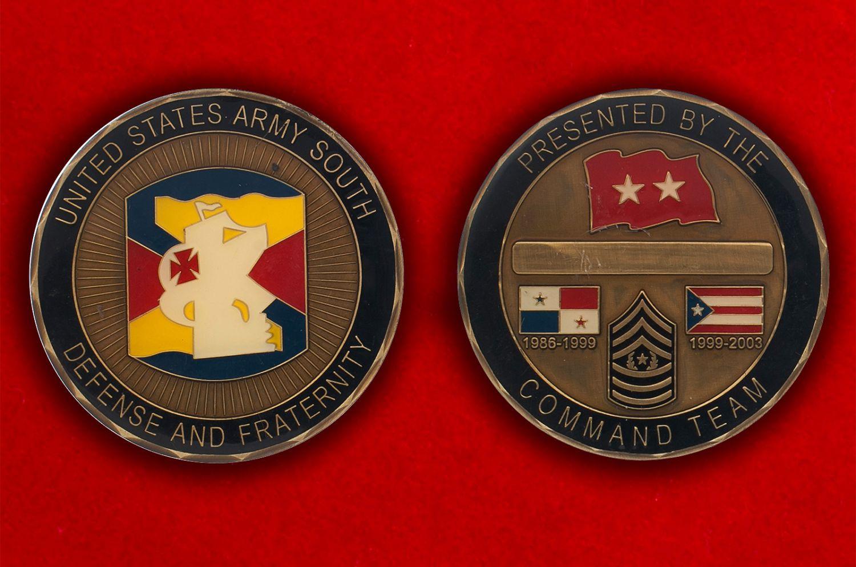 Челлендж коин Южного командования Армии США - аверс и реверс