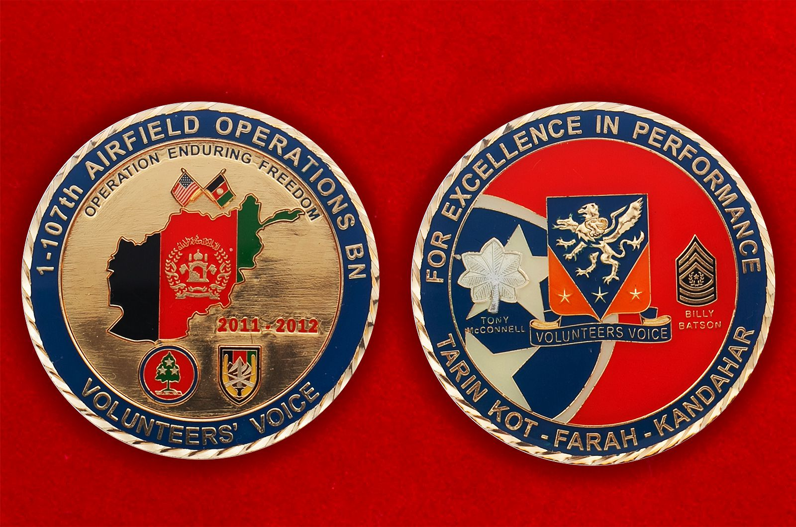 "Челлендж коин ""За операцию Несокрушимая свобода"" 1-го батальона 107-го авиаполка - аверс и реверс"