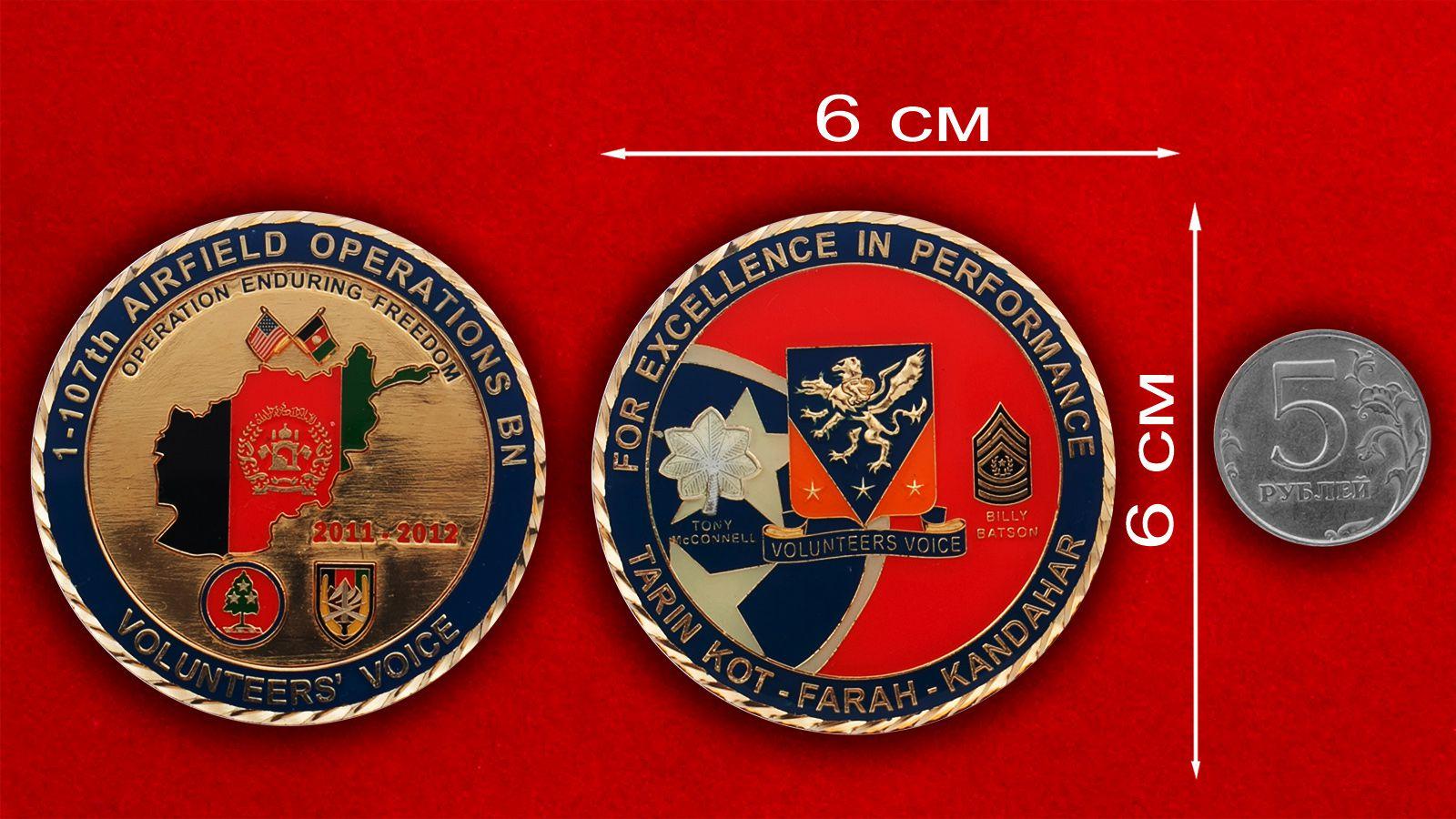 """Челлендж коин """"За операцию Несокрушимая свобода"""" 1-го батальона 107-го авиаполка - сравнительный размер"""