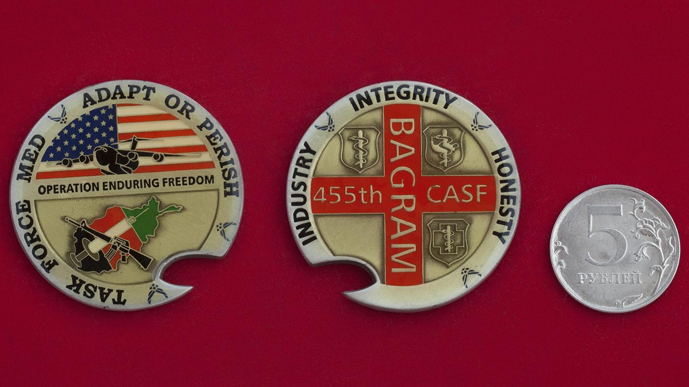 """Челлендж коин """"За операцию Несокрушимая свобода"""" 455-го авиамединского пункта ВВС США в Баграме"""