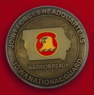 """Челлендж коин """"За отличие"""" объединенного штаба Национальной гвардии Айовы"""