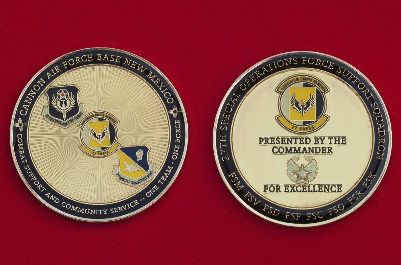"""Челлендж коин """"За отличие"""" от командира 27-й эскадрильи обеспечения Сил специальных операций ВВС США"""