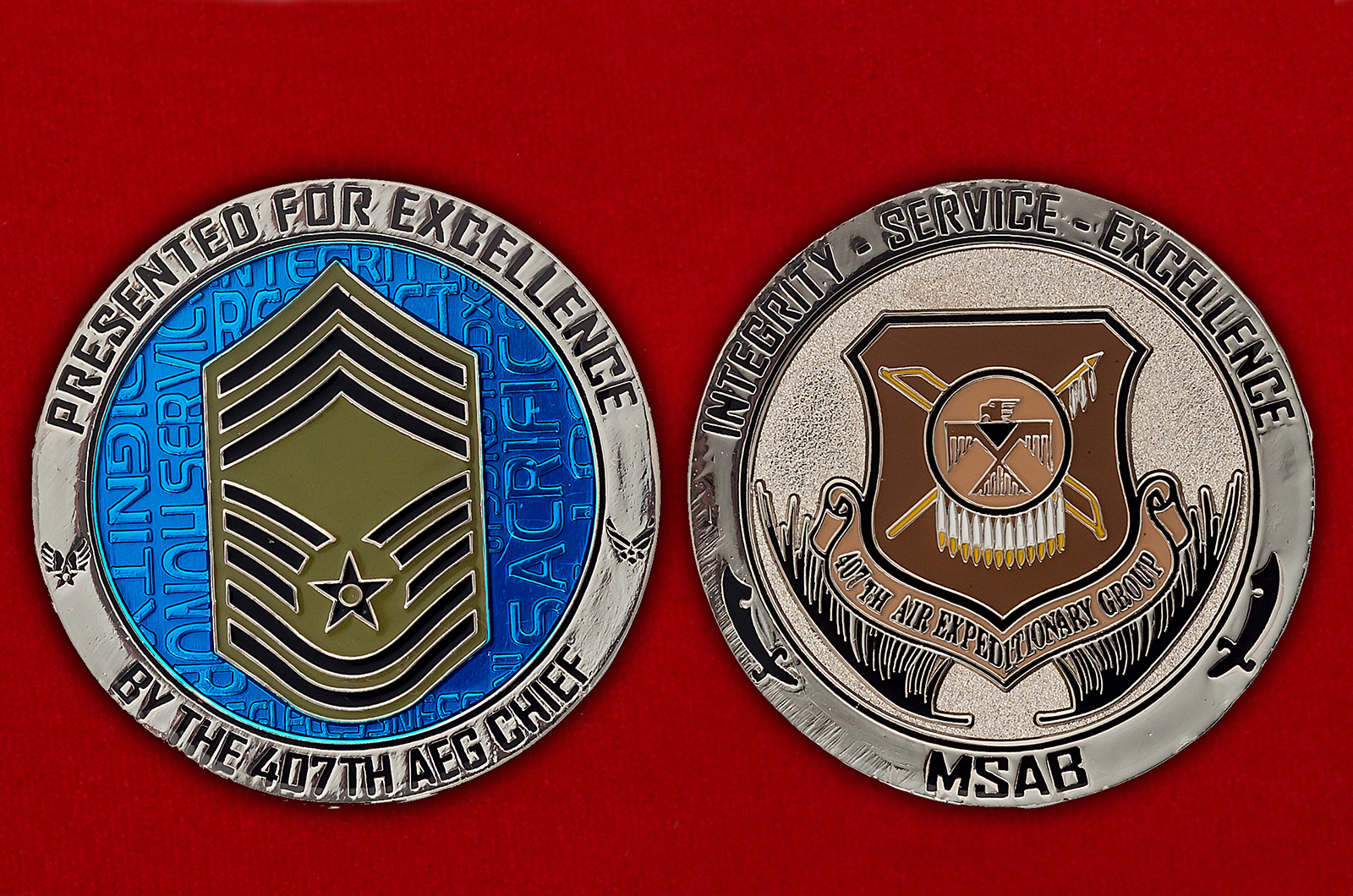 """Челлендж коин """"За отличие от командира 407-й экспедиционной авиагруппы ВВС США"""""""