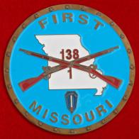 """Челлендж коин """"За отличие от командования"""" 1-го батальона 138-го полка легкой пехоты Национальной гвардии штата Миссури"""