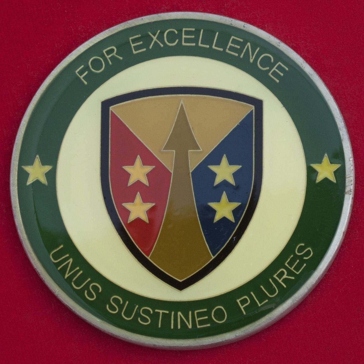 """Челлендж коин """"За отличие"""" от командующего Управлением тылового обеспечения резерва Армии США"""