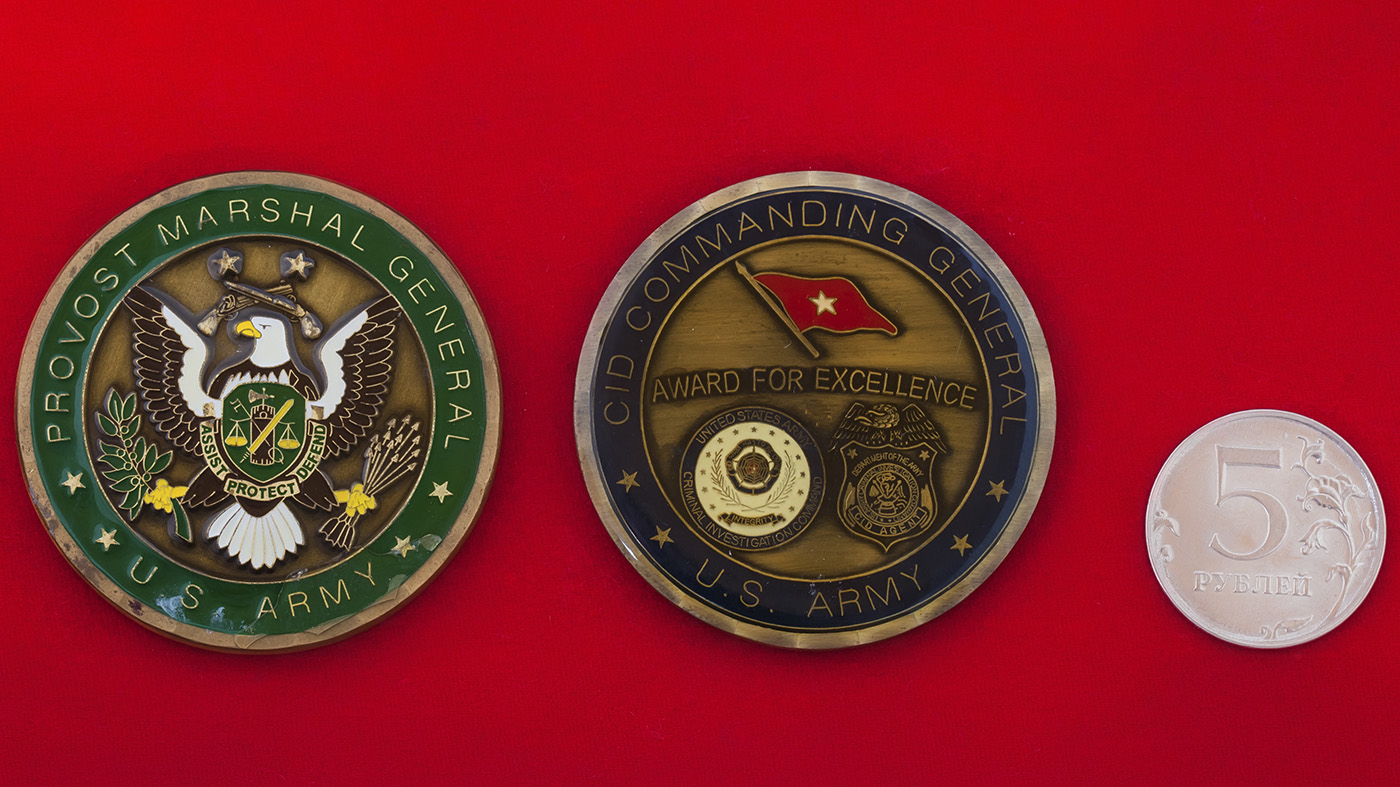 """Челлендж коин """"За отличие"""" от начальника военной полиции и командующего следственным управлением Армии США"""