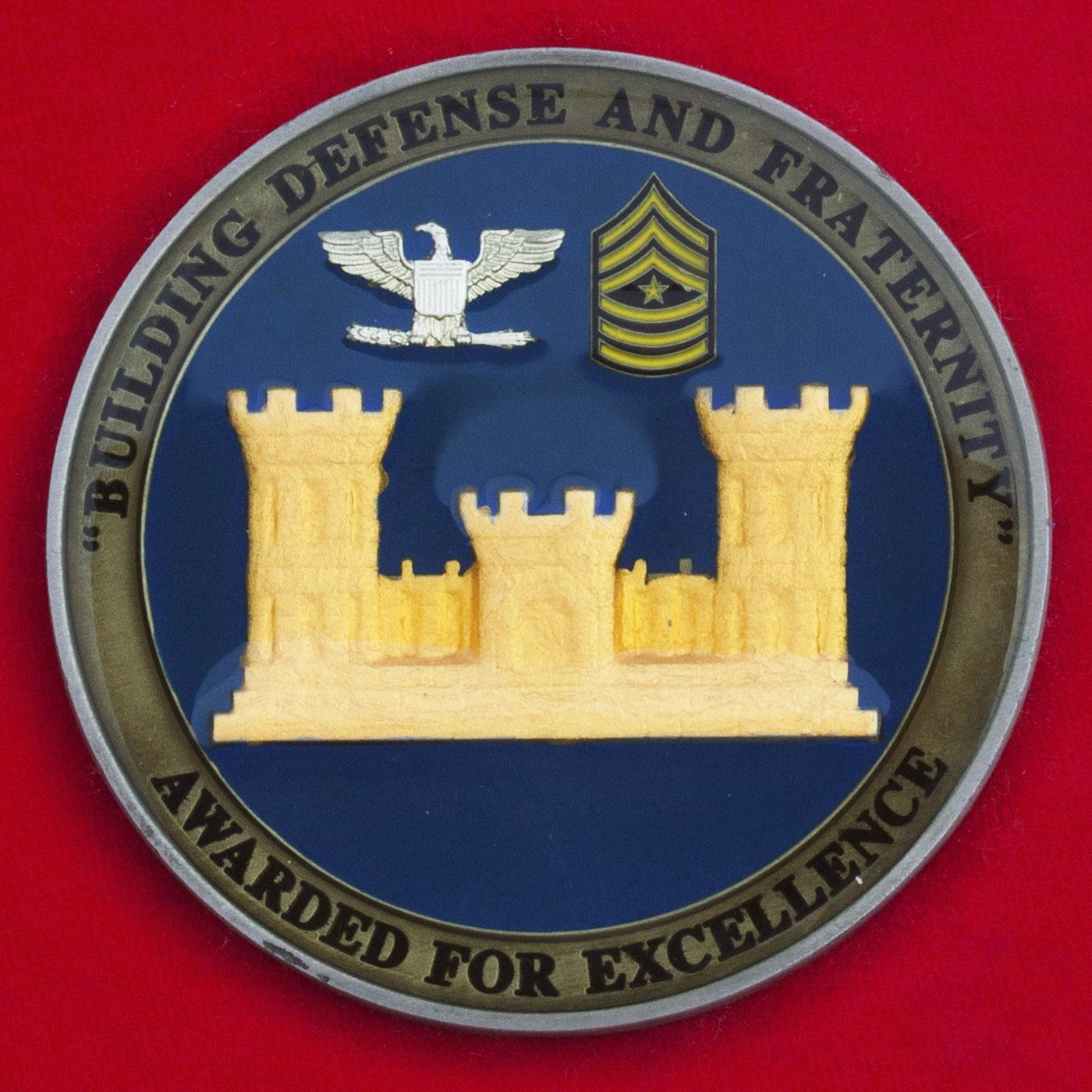 """Челлендж коин """"За отличие"""" от заместителя начальника штаба - начальника инженерной службы Командования ВС США в зоне Центральной и Южной Америки"""