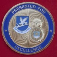 """Челлендж коин """"За отличие"""" сотрудников службы безопасности Космического командование ВВС США"""