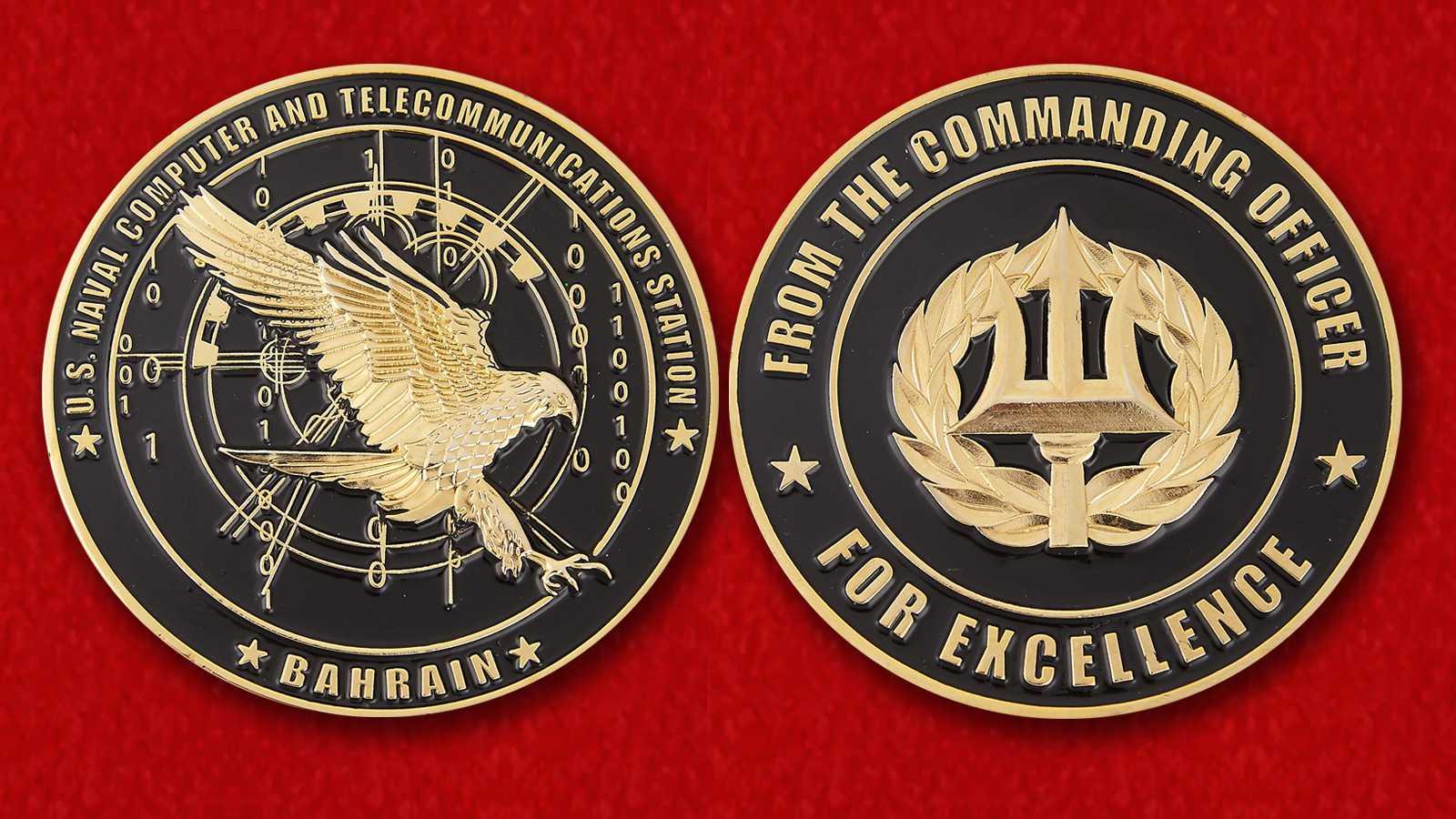 """Челлендж коин """"За отличие в службе от командира военно-морской компьютерной и телекоммуникационной базы ВМС США в Бахрейне"""""""