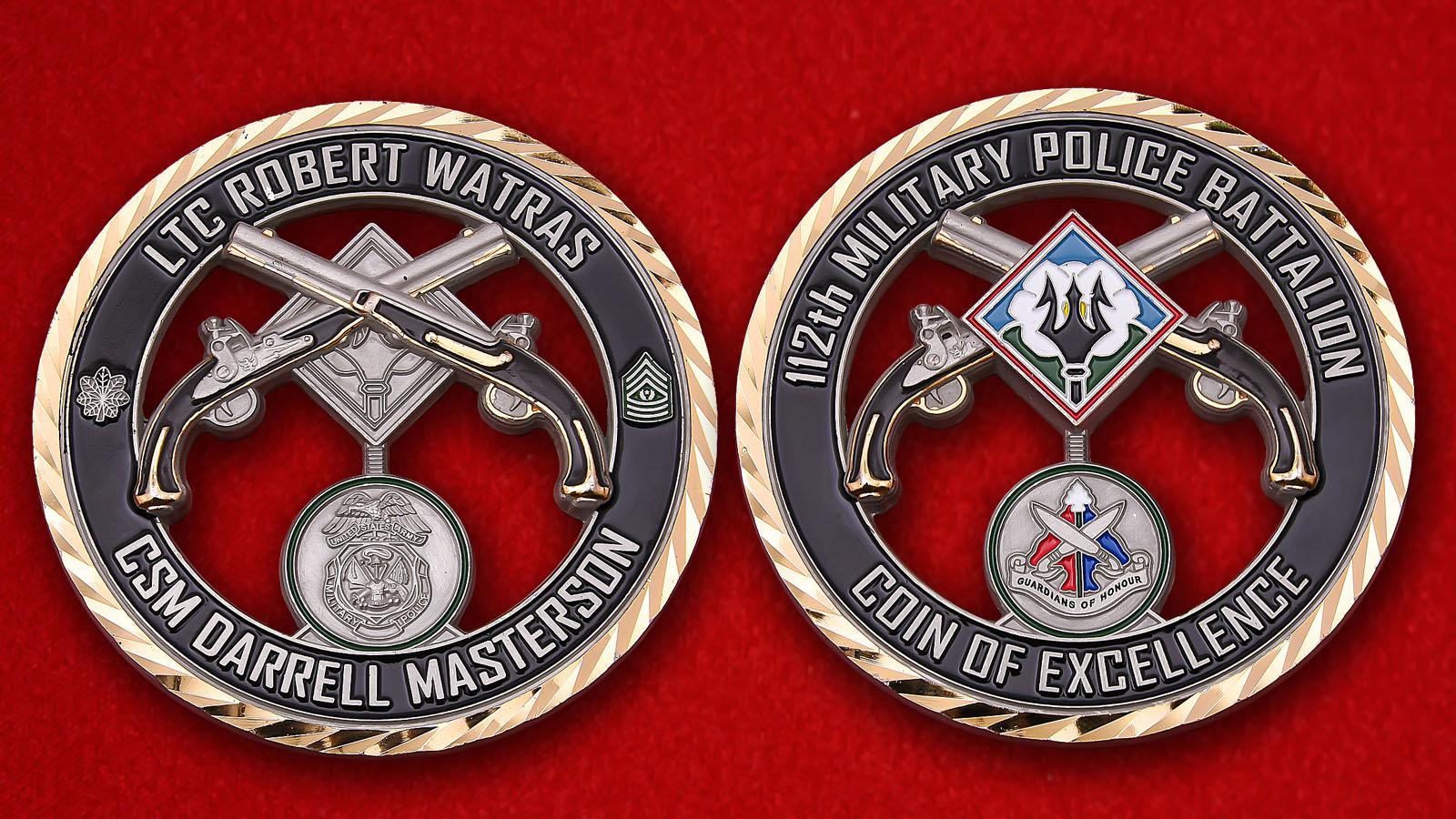 """Челлендж коин """"За отличие в службе в 112-м батальоне военной полиции Армии США"""""""