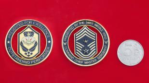 """Челлендж коин """"За отличную службу и выдающуюся боевую подготовку"""" от главного мастер-сержанта 314-го ракетного крыла ВВС США"""