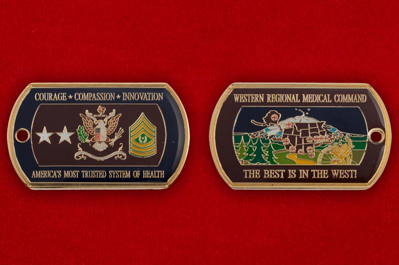 Челлендж коин Западного регионального медицинского командования ВС США - аверс и реверс