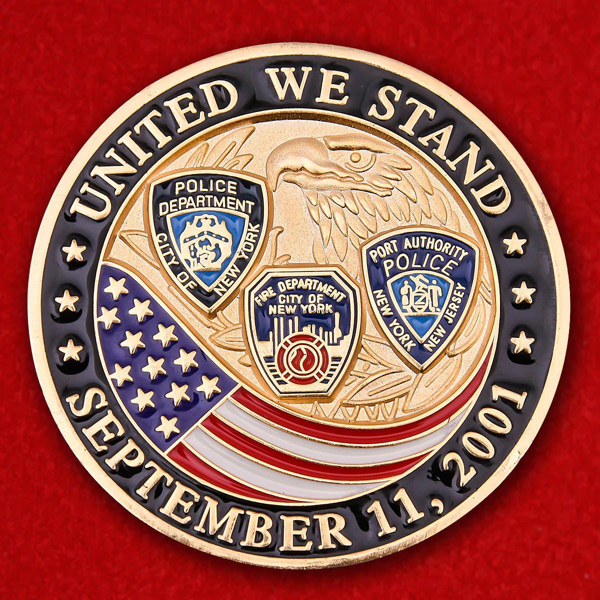 """Челленж коин """"Полицейским и пожарным Нью-Йорка, устранявшим последствия терактов 11 сентября 2001 года""""в"""