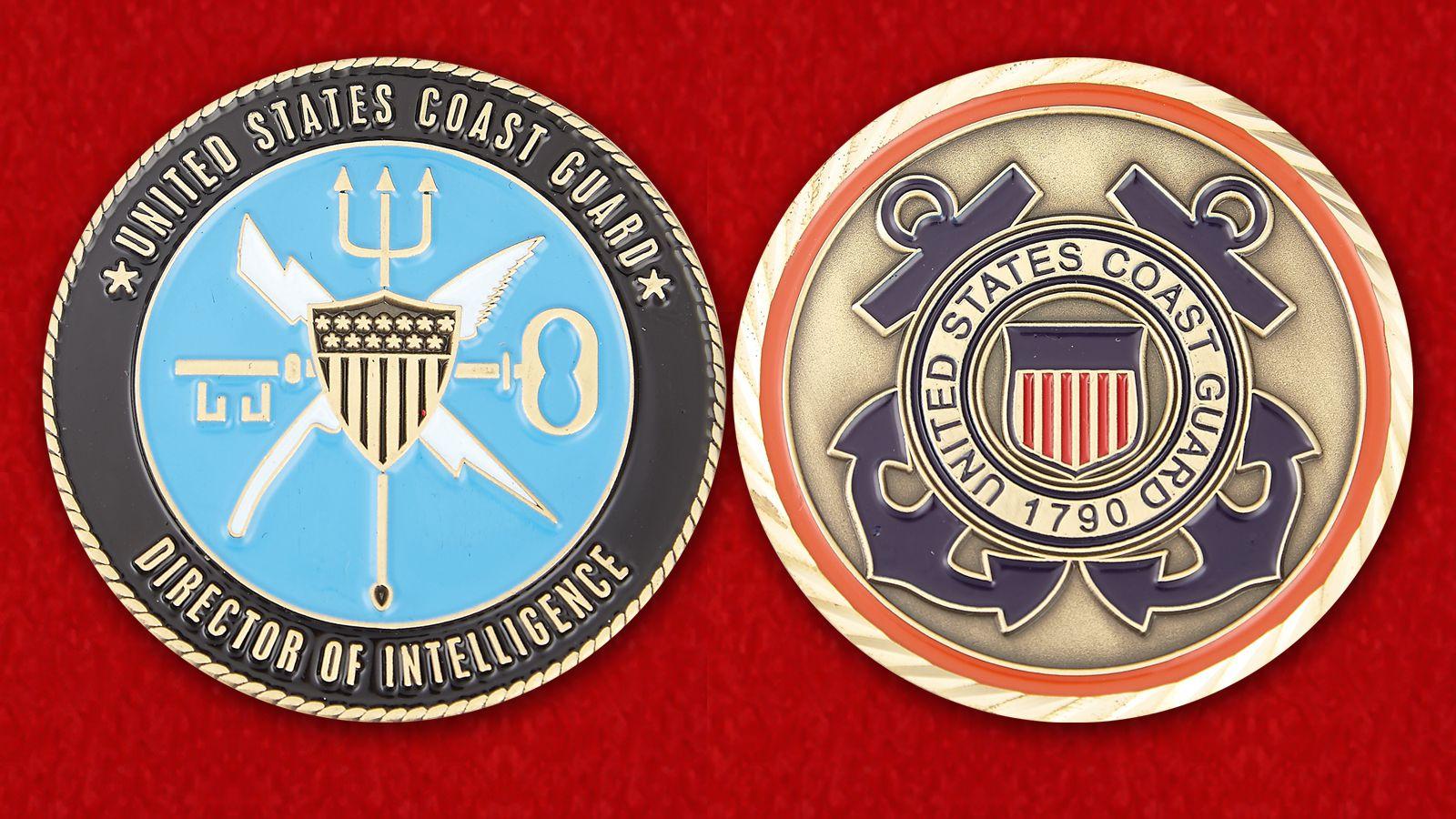 Челлендж коин Директора разведки Береговой охраны США - аверс и реверс