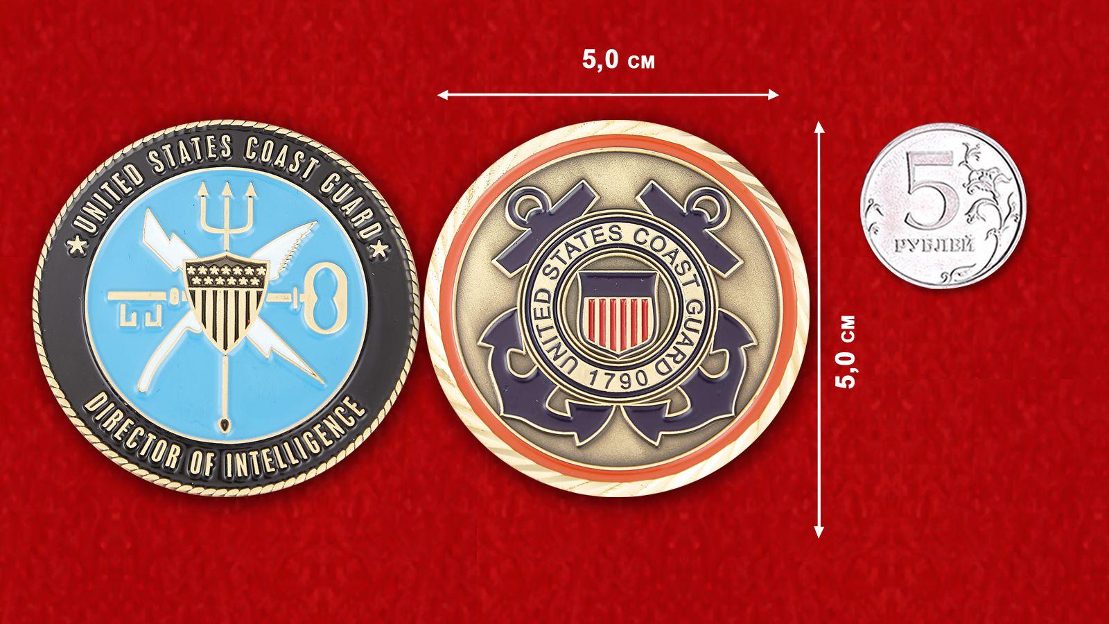 Челлендж коин Директора разведки Береговой охраны США - сравнителный размер