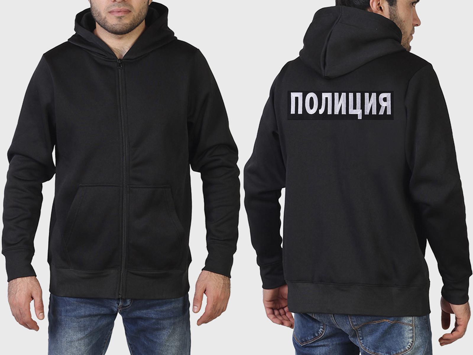 Черная мужская толстовка с белой вышивкой ПОЛИЦИЯ.