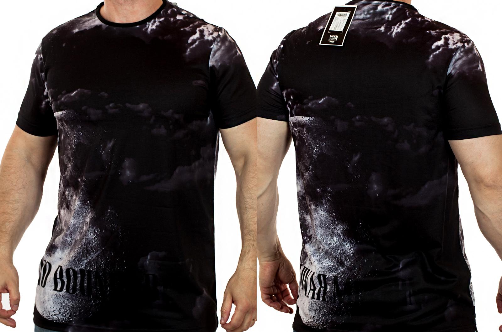 Черная мужская футболка с абстрактным рисунком. Круизная коллекция межсезонья Max Young Men