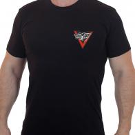 Черная армейская футболка с вышитым шевроном Волчья Сотня