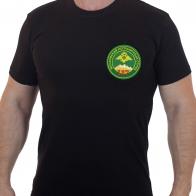 Черная армейская футболка с вышивкой Московский ПО117