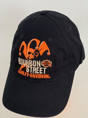 Черная бейсболка Harley-Davidson оранжевым черепом
