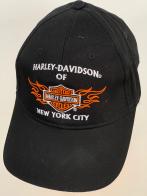 Черная бейсболка Harley-Davidson с бело-оранжевой вышивкой
