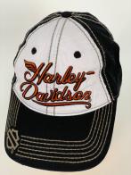 Черная бейсболка Harley-Davidson с белой тульей и оранжевой вышивкой