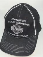 Черная бейсболка Harley-Davidson с белой вышивкой