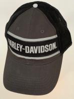 Черная бейсболка Harley-Davidson с черным тылом и принтом на тулье
