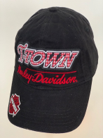 Черная бейсболка Harley-Davidson с красной вышивкой и большой нашивкой