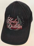 Черная бейсболка Harley-Davidson с крутым принтом и стразами