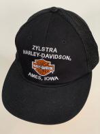 Черная бейсболка Harley-Davidson с сеткой и бело-оранжевым принтом