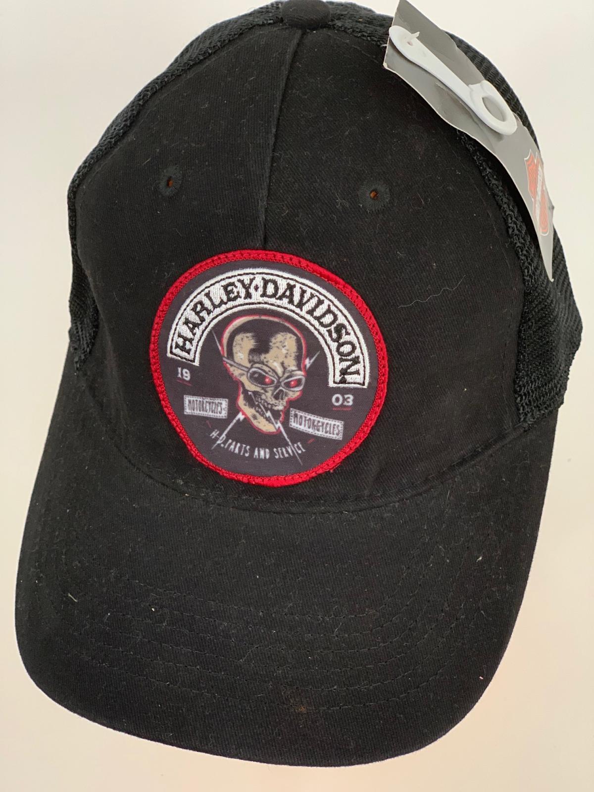 Черная бейсболка Harley-Davidson с сеткой и круглой нашивкой