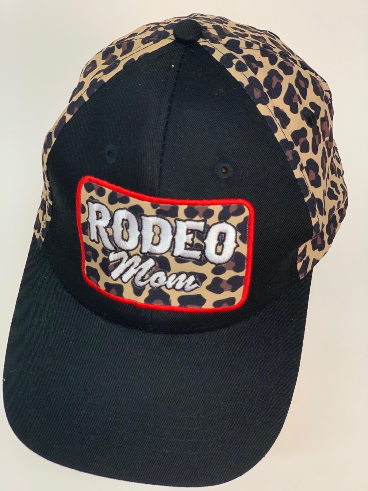 Черная бейсболка Rodeo Mom с леопардовыми вставками