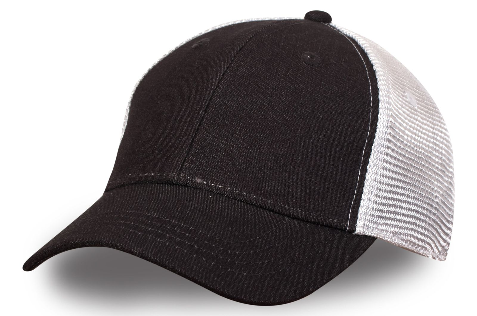 Чёрная бейсболка с белой сеткой - купить по низкой цене