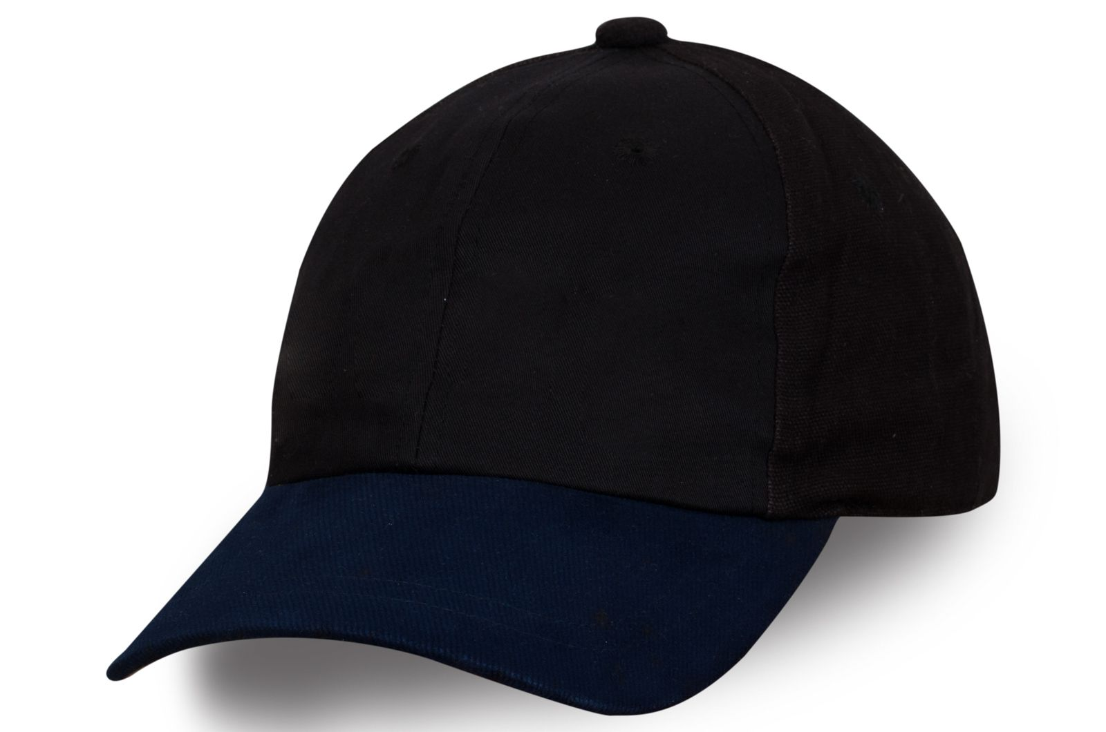 Черная бейсболка с синим козырьком