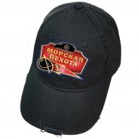 Чёрная бейсболка с термопринтом Морская пехота