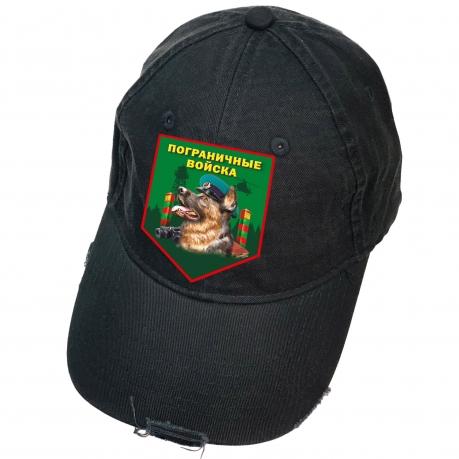 Черная бейсболка с термотрансфером Пограничные Войска