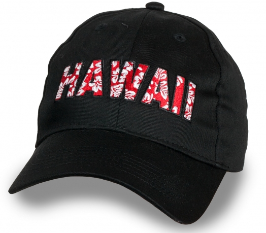 Черная бейсболка с яркой надписью Hawaii