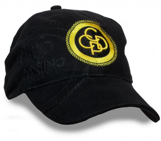 Черная бейсболка с золотым логотипом Casino de Paris