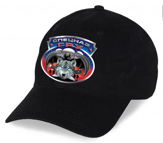 """Черная бейсболка """"Спецназ ГРУ"""" с волком. Стильная модель отменного качества. Заказывайте для себя или в подарок!"""