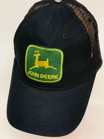 Чёрная брендовая бейсболка с сеткой JOHN DEERE