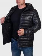 Черная демисезонная мужская куртка с капюшоном Blue Ocean