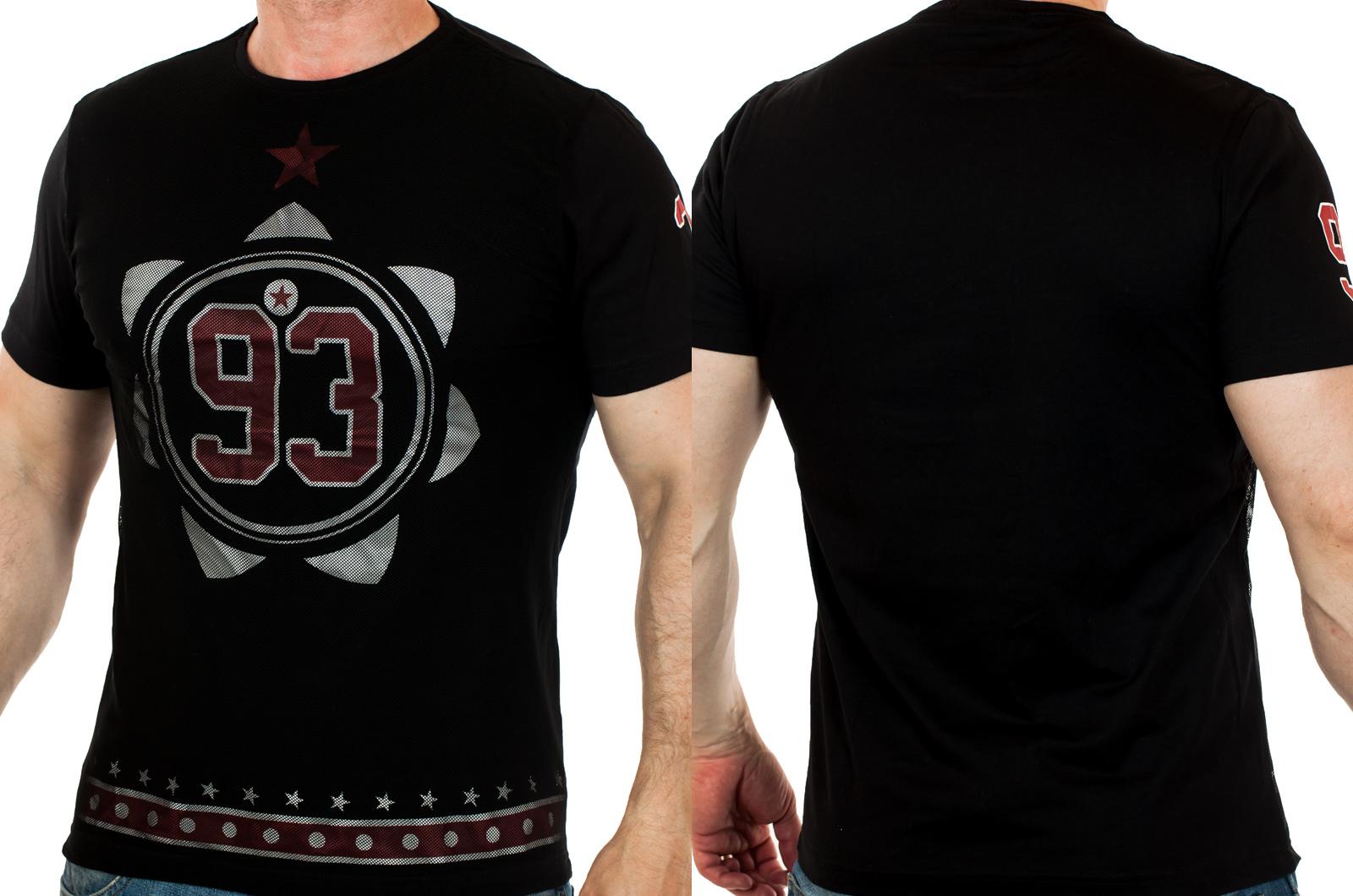 Черная мужская футболка с мелкой сеткой. Тусовочный вариант от ТМ SPLASH (ОАЭ)