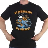 Черная футболка «Клёвый рыбак»