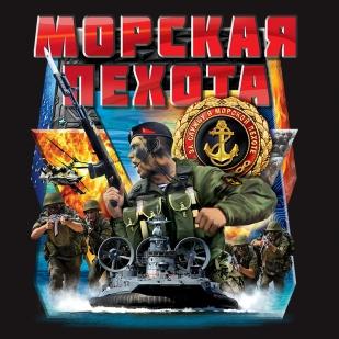 """Черная футболка """"Морская пехота"""" - авторский принт"""