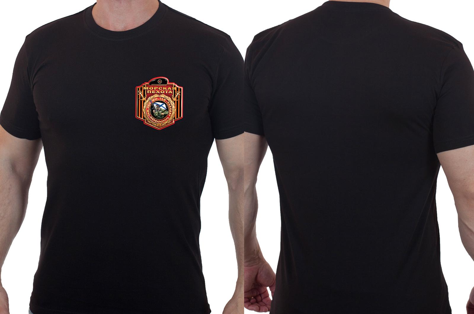 Черная мужская футболка Морская Пехота.
