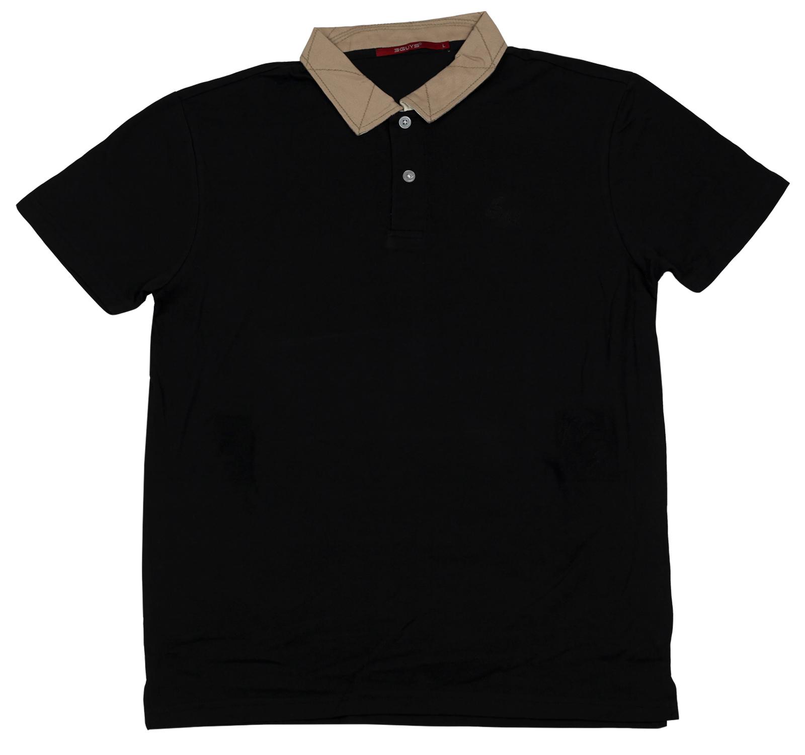Черная футболка-поло Guys - лаконичный вариант на все случаи жизни