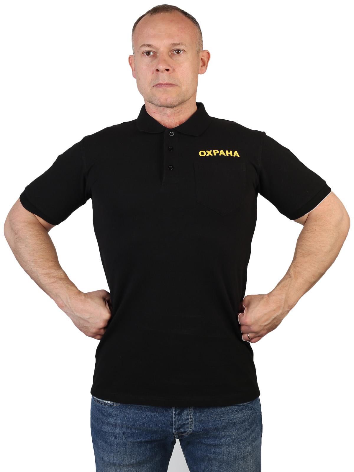 Черная футболка поло с принтом Охрана
