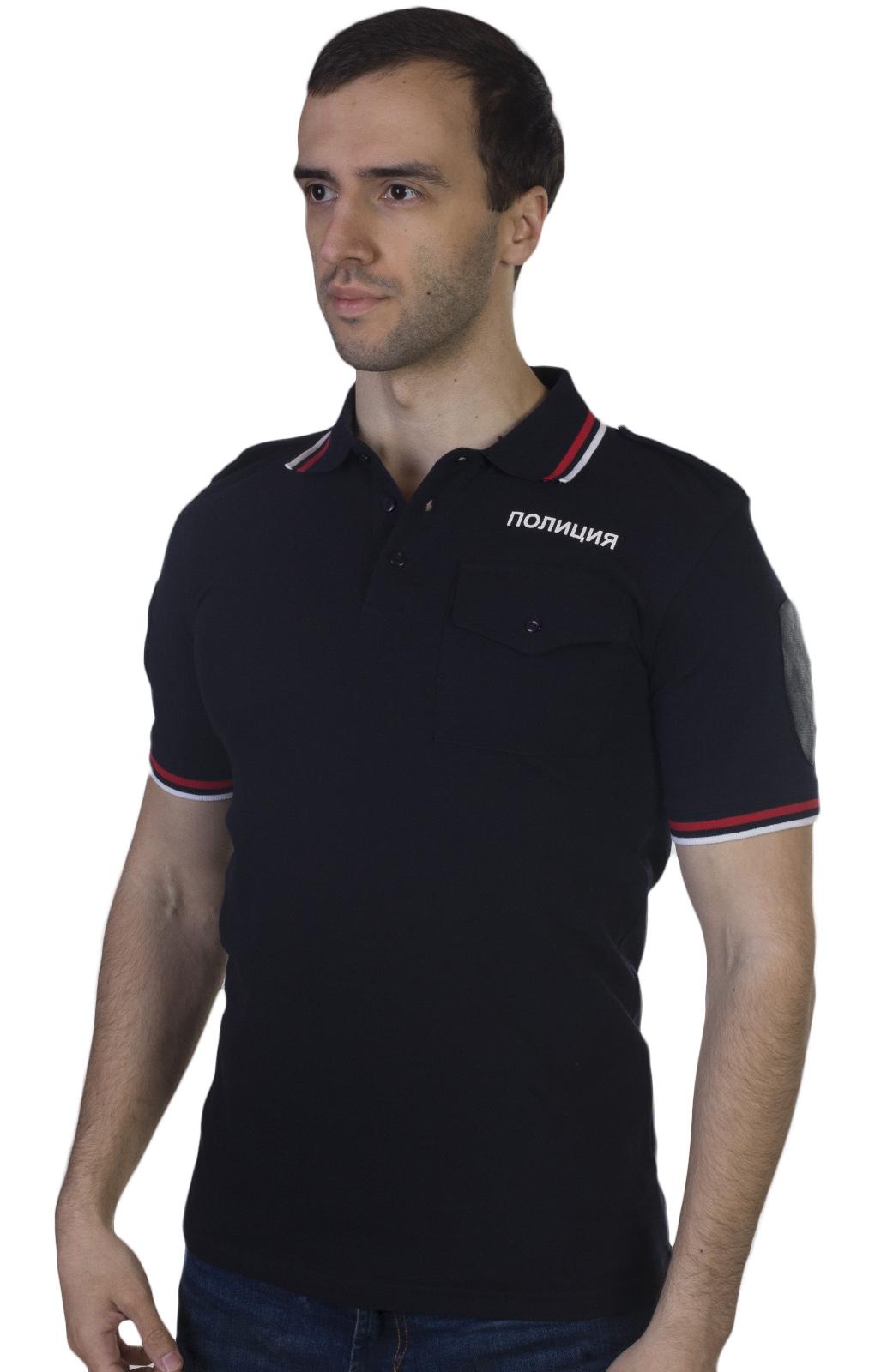 Мужская футболка поло Полиция – черный цвет, наличие в Москве