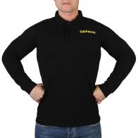 Чёрная футболка поло с длинным рукавом Охрана